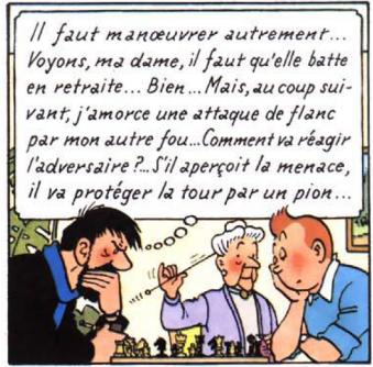 Tintin joue aux échecs