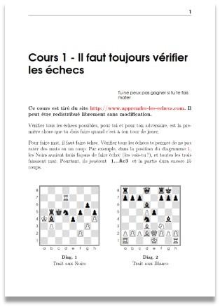 cours d'échecs au format pdf